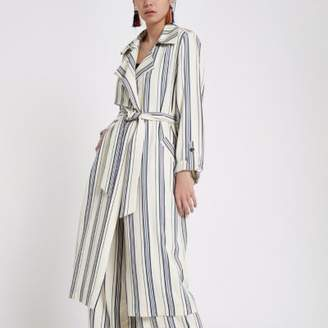 River Island Womens Blue stripe tie waist trench coat
