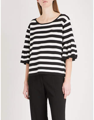 Claudie Pierlot Flared-sleeve striped cotton-blend jumper