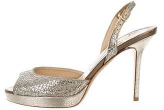 Jimmy Choo Glitter Ankle Strap Sandals