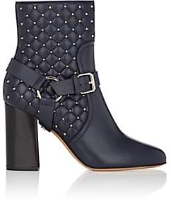 Valentino Women's Rockstud Spike Leather Ankle Boots-Marine