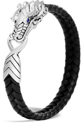 John Hardy Men's Sterling Silver Legends Naga Bracelet with Braided Black Leather and Sapphire Eyes