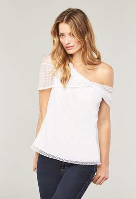 Milly Exclusive Stretch Mesh One Shoulder Top