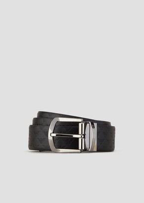 Emporio Armani Croc Print Leather And Smooth Leather Belt