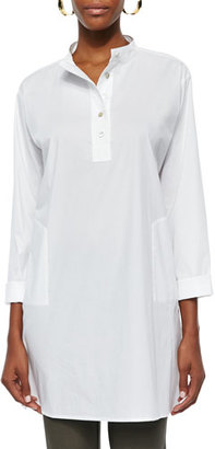Eileen Fisher Stretch Easy Big Shirt, White, Plus Size $238 thestylecure.com