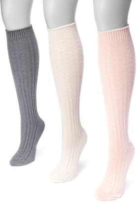 Muk Luks Women's 3-pk. Cable-Knit Knee-High Socks