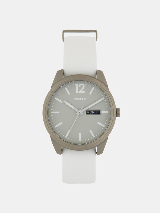 DKNY Gansevoort White Leather 3 Hand Watch