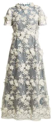 Luisa Beccaria Floral Applique Tulle Midi Dress - Womens - Blue White