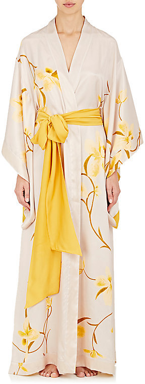 Carine GilsonCarine Gilson Women's Flower-Print Silk Long Kimono Robe