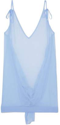 Sperone Backless Cotton-blend Mini Dress - Sky blue
