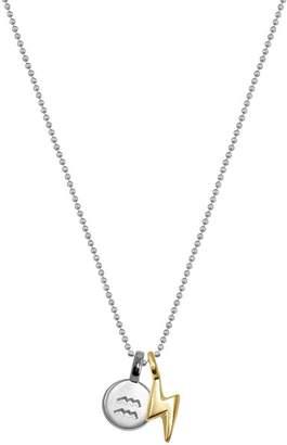 Alex Woo Sterling Silver & 14K Yellow Gold Mini Aquarius Pendant Necklace