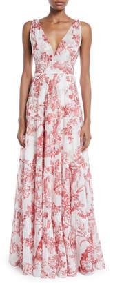 Oscar de la Renta V-Neck Sleeveless Toile-Print Silk A-Line Long Day Dress