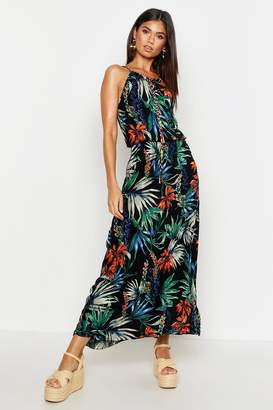 boohoo Tropical Print Maxi Dress With Tie & Beading Detail