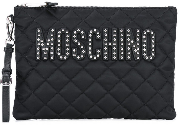 Moschino Moschino quilted logo clutch