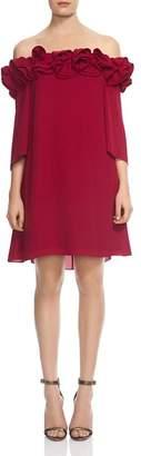 Halston Ruffled Off-the-Shoulder Dress