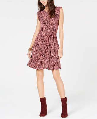 Michael Kors Flounce-Trim Tie-Waist Dress, in Regular and Petite Sizes