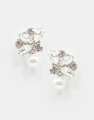 True Decadence crystal drop earrings with pearl