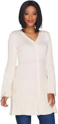 Du Jour Button Front V-Neck Bell Sleeve Cardigan