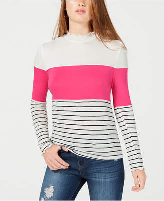Hippie Rose Juniors' Mock-Neck Striped Top