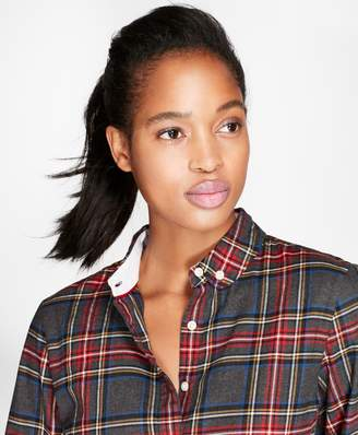 Brooks Brothers Tartan Brushed Cotton Twill Rounded-Collar Shirt