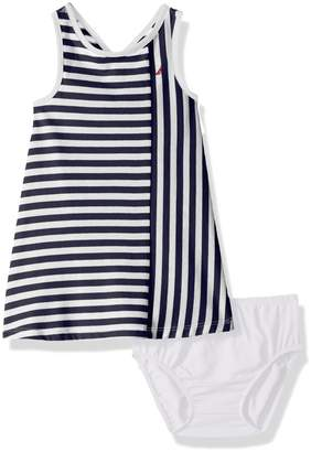 Nautica Baby Girls' Stripe Criss Cross Back Knit Dress