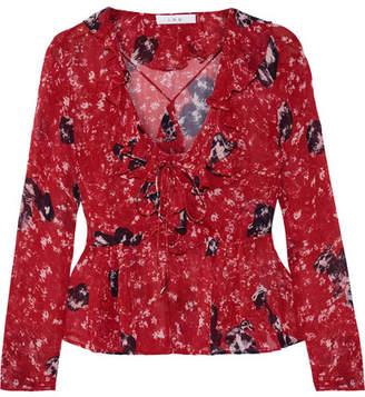IRO Venecia Ruffled Printed Chiffon Blouse - Red