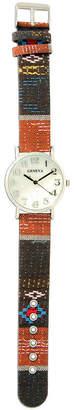 MOP OLIVIA PRATT Olivia Pratt Womens Silver-Tone Faux Dial Orange-Brown Patterned Fabric Strap Watch 10352Tr