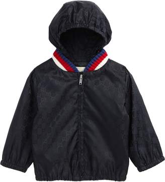 Gucci GG Logo Jacquard Hooded Rain Jacket