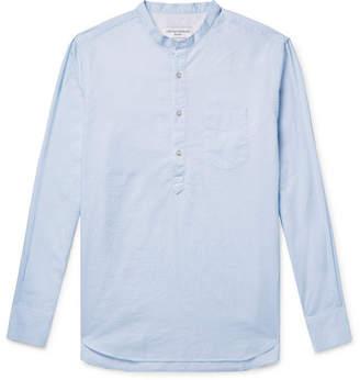 Officine Generale Slim-Fit Grandad-Collar Striped Slub Cotton Shirt