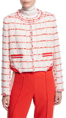Pinko Cropped Check Frayed Boucle Jacket