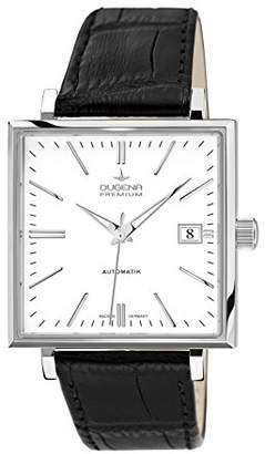 Dugena Men's Premium hand driven Watch with White Dial Analogue Display and Black Leather Strap