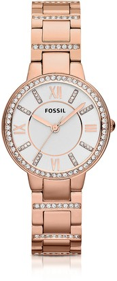 Fossil Virginia Three Hand Rose Golden Stainless Steel Women's Watch