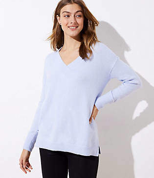 LOFT Drop Shoulder V-Neck Sweater