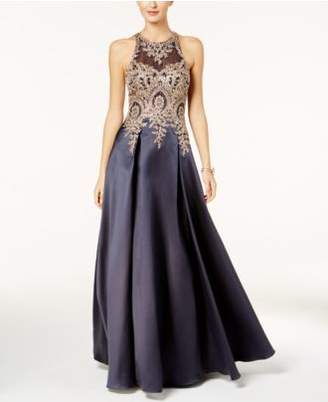 Xscape Evenings Embroidered Illusion Ballgown