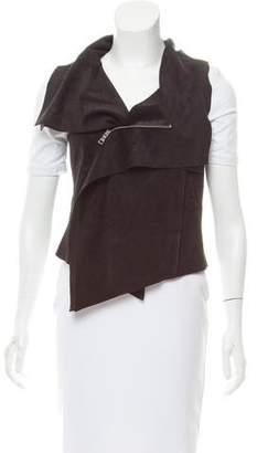 BCBGMAXAZRIA Suede Zip-Up Vest