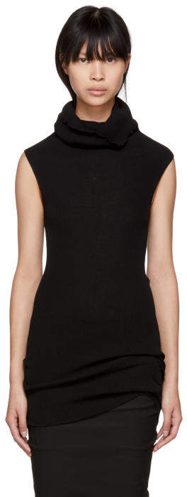 Rick Owens Black Sleeveless Ribbed Tube Turtleneck