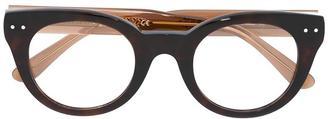 Bottega Veneta Eyewear thick frame glasses $283.68 thestylecure.com
