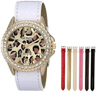 XOXO Women's XO9040 Seven Color Snake-Embossed Interchangeable Strap Set Watch