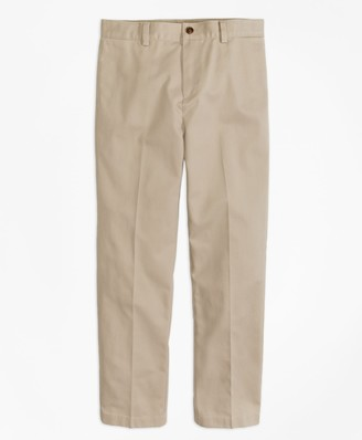 Brooks Brothers Boys Plain-Front Non-Iron Chinos