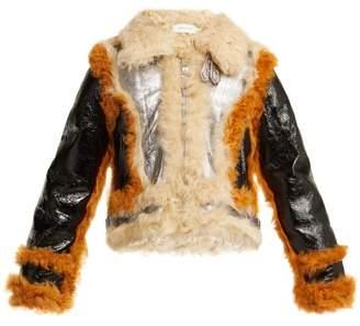 Marques Almeida Marques'almeida - Contrast Trim Shearling Jacket - Womens - Silver Multi