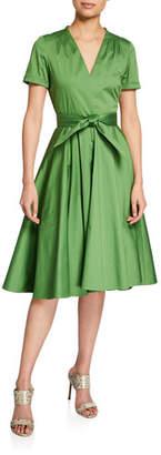 Badgley Mischka Belted V-Neck A-Line Short-Sleeve Dress