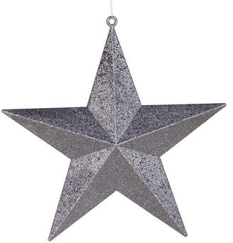Asstd National Brand 23 Commercial Size Pewter-colored Glitter 5-Pointed Star Christmas Ornament