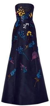 Carolina Herrera Floral-Embroidered Strapless Silk A-Line Gown