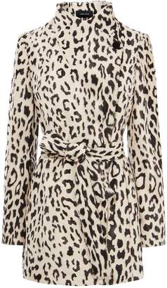 453e62d14b15 at Karen Millen · Karen Millen Textured Leopard Wrap Coat