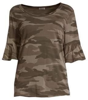 Splendid Camo Ruffle T-Shirt