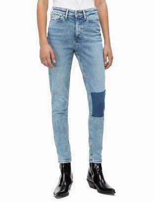Calvin Klein skinny high rise light patch ankle jeans