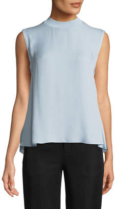 Vince Ribbed-Trim Tie-Back Silk Shell