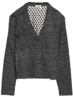 See by Chloe Paneled Marled Ribbed-Knit And Embroidered Tulle Cardigan