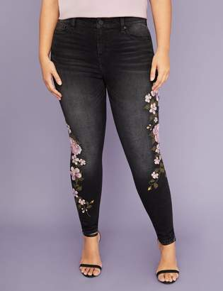 Lane Bryant Super Stretch Skinny Jean - Purple Floral Embroidery