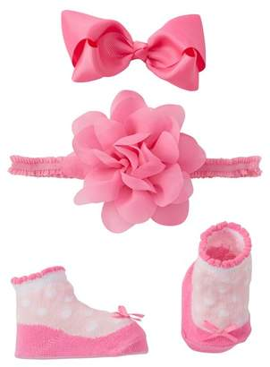 Little Me Fancy Petal Headwrap, Booties, & Clip (Baby Girls)
