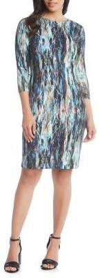 Karen Kane Quarter-Sleeve Printed Sheath Dress